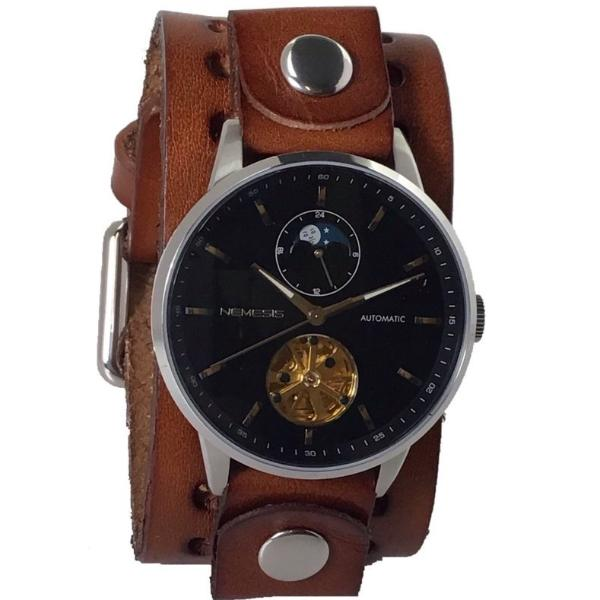 512BBN Nemesis 5 ATM stainless steel Auto winding day & night watch with brown leather cuff bandwatch