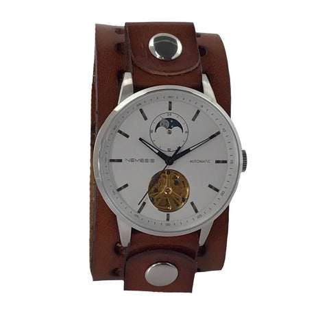 512BBN 5ATM water resistant stainless Steel Auto winding day & night watch with brown leather cuff band