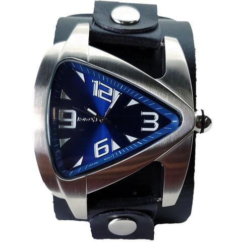 LBN011DL Nemesis teardrop triangle men's watch with 2 inches wide leather cuff band