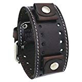 DSTH007B Nemesis Rugged stainless steel watch with Dark Brown stitch leather cuff band