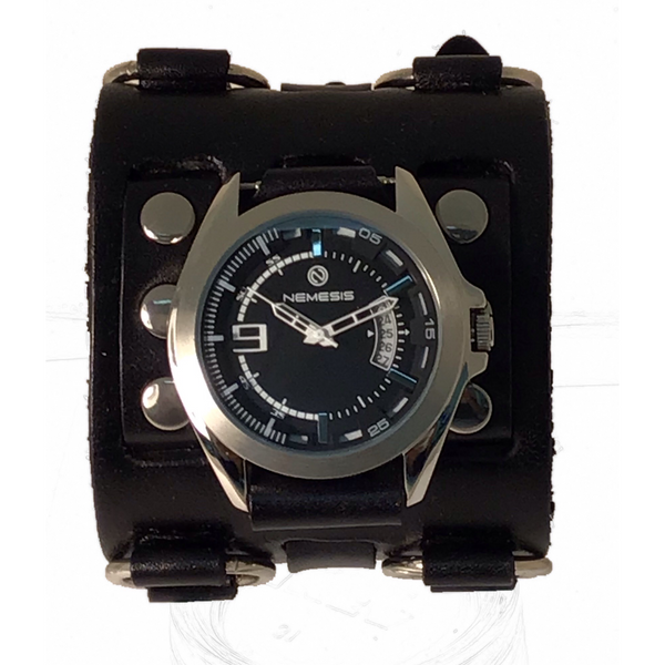 WB270Kk Nemesis black Sully Watch with 2.5 inches wide detailed leather cuff band