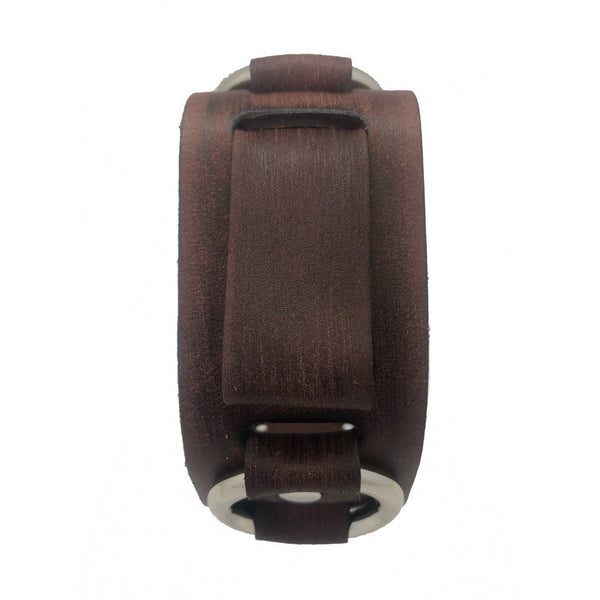 VBRB vintage brown 2 Ring leather cuff band
