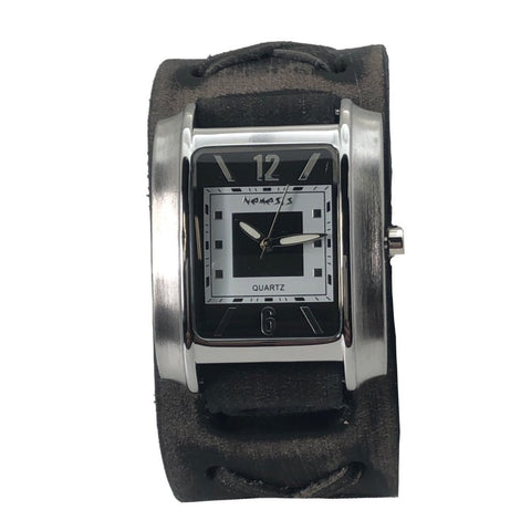 Square in Square Watch with Vintage X Black Leather Cuff Band FXB013K