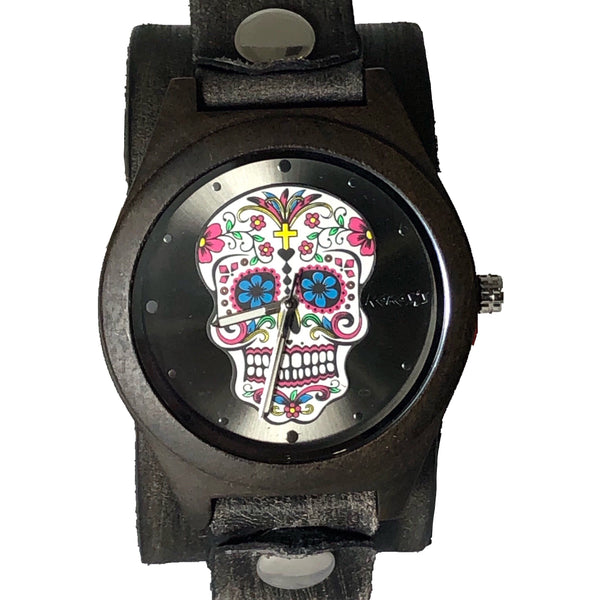 VBN225k Nemesis wood case sugar skull watch with black vintage leather cuff band