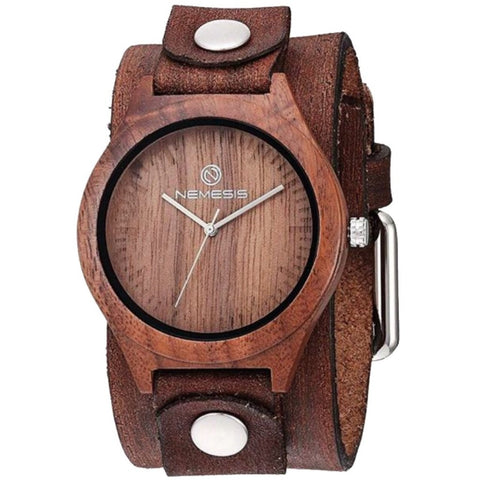 BVBN Nemesis natural wood case watch with vintage brown leather cuff bsnd