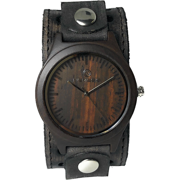 VST260kNemesis wood case watch with leather cuff banb