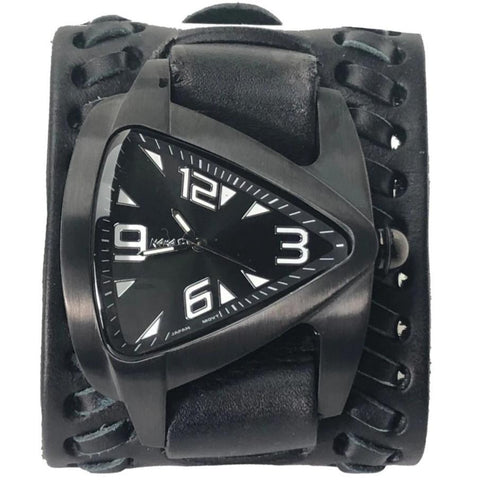 DBT061k Nemesis IP Black stainless steel teardrop watch with Black Wide Weaved style leather cuff band