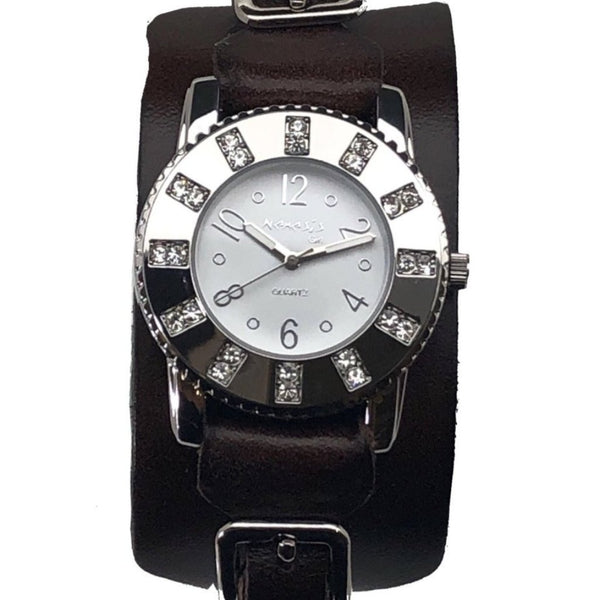 311B2B Nemesis LadiesTrendy watch with brown leather cuff band