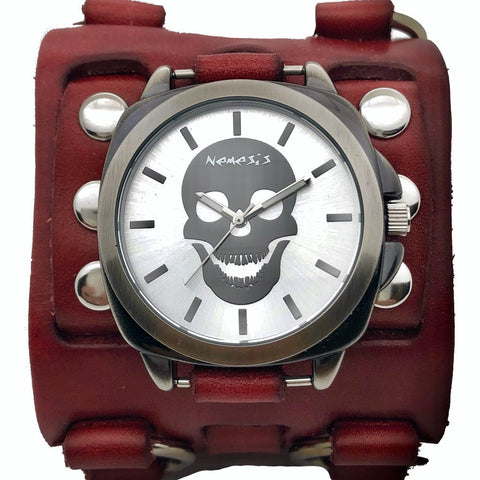 RWB935 skull watch with Red detail 3 strip leather cuff band
