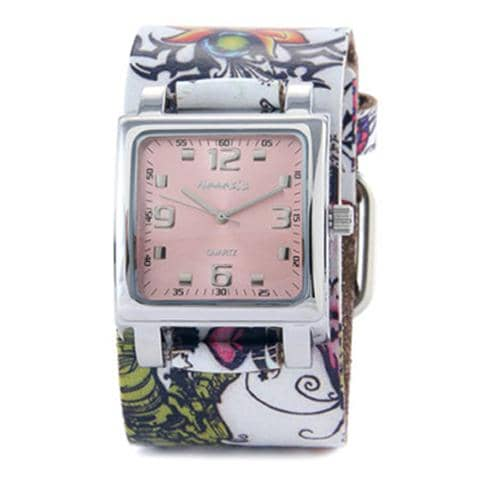Pink Lite SQ Watch with White Tattoo Print Cuff Band 302-516P