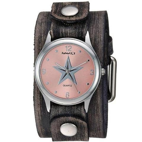 FGB355P Nemesis Women's Little Star Stainless Steel Quartz Leather cuff