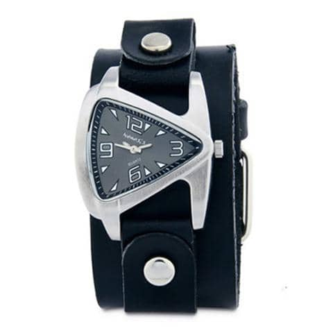 Small Black Ladies Teardrop Watch with Junior Size Black Leather Cuff Band GB024K