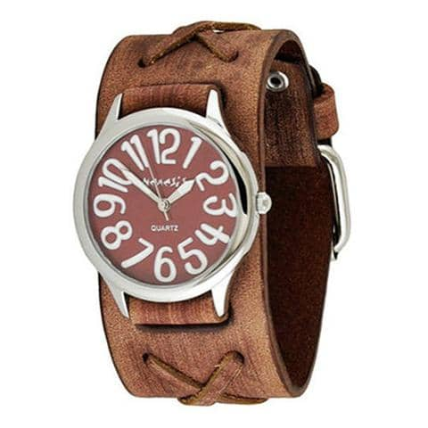 Red/White Always Summer Ladies Watch with Junior Faded Light Brown X Leather Cuff Band BSFX108R