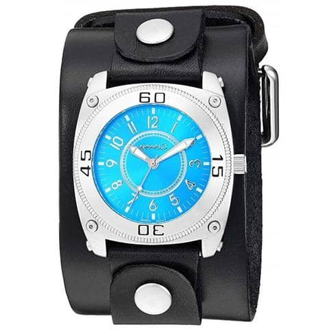Blue Mix & Match Watch with Brown Single Stitched Leather Cuff Band NLB012L