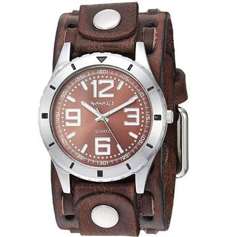 FWTK096B Sporty Racing Watch with Brown Leather Cuff Band
