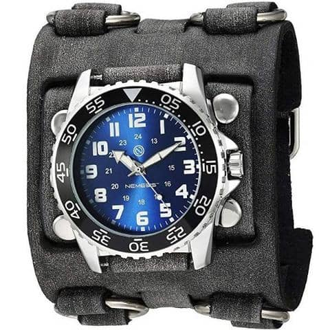 FWB257L Nemesis super night grow dial diver watch with Vintage leather detail 3 strip band