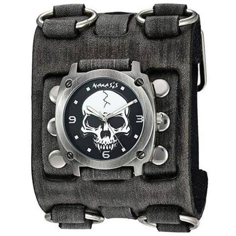 Black Heavy Duty Skull Watch with Faded Black Wide Detail Leather Cuff Band FWB926K