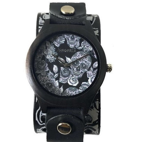 MSK263 Nemesis dark wood case watch with tattoo skull leather cuff band