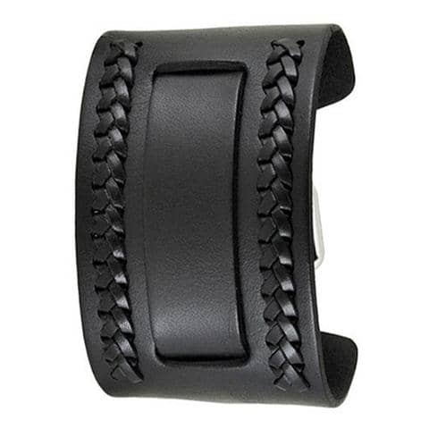 Black Wide Weaved 2 Pc. Leather Cuff Watch Band 24mm NWA