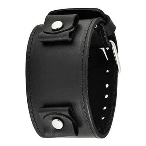 LBB-KK All Black XL Stitch Leather Cuff Watch Band 22-25mm