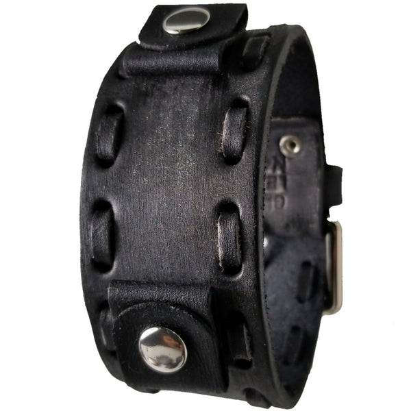 Nemesis Vintage Black Leather Cuff Watch Band 20-22mm VDS-K