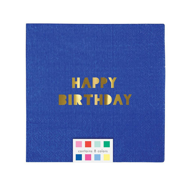 blue napkin with a shiny gold foil border and Happy Birthday message