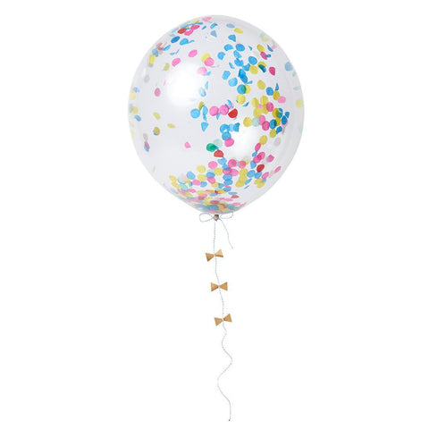25mm round confetti balloon with 7 colors of bow stickers, gold foil detail & twine