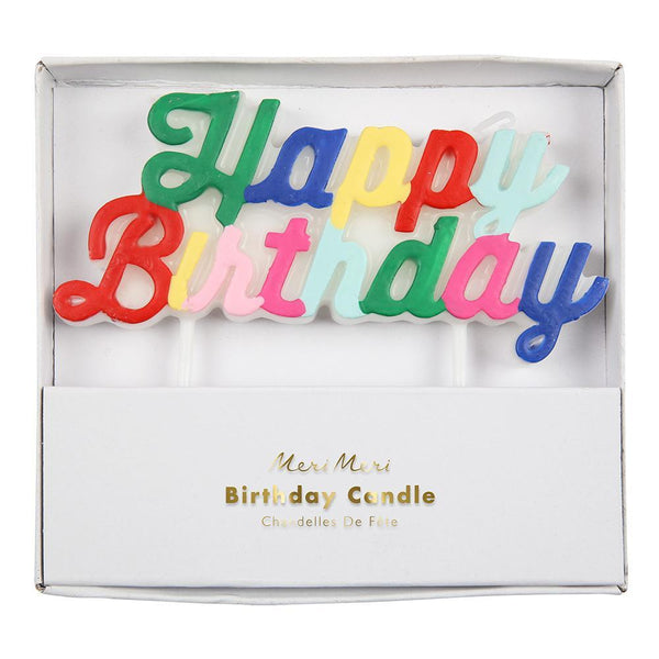 Pack of multicolored candle, spelling out Happy Birthday in an elegant curling script