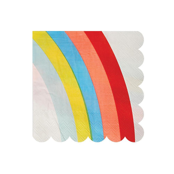 Napkin with a colorful rainbow, from deep red to cheery sky blue, with a scallop edge