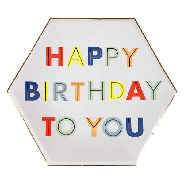 White paper plate with Happy Birthday message in neon print & gold foil border