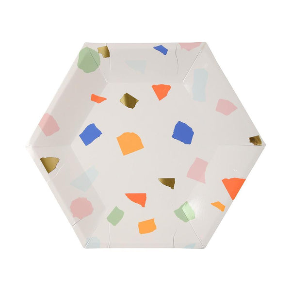 Hexagonal plate with neon print & gold foil detail