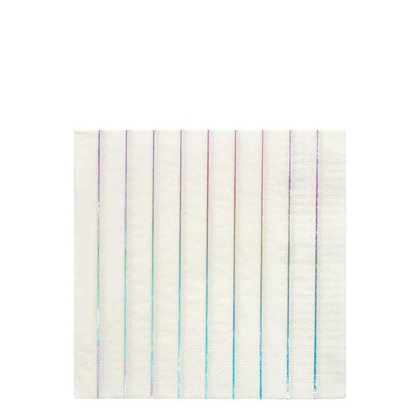 Silver Holographic Stripe Napkins (Large)