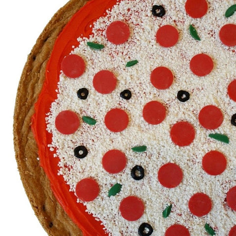 Cookie cake decorated to look like a pizza