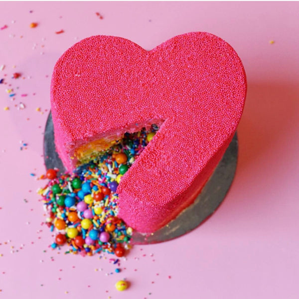 Pink Heart Explosion Cake