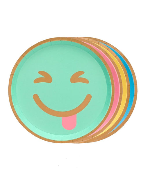 Set of 8 paper emoji plates in 4 Assorted colors with gold foil details