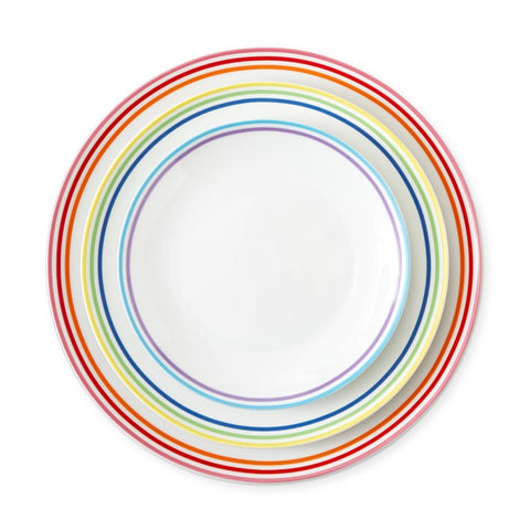 Set of 3 white porcelain plates bordered in rainbow