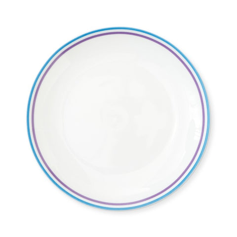 White plate with blue and purple border lines