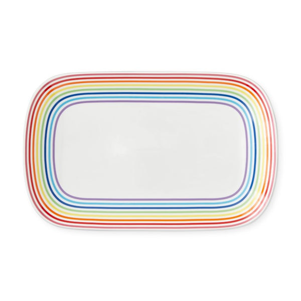 Rectangular shaped rainbow-rimmed porcelain platter