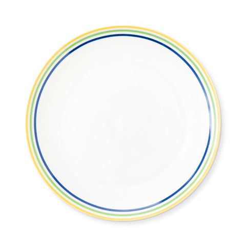White porcelain plate bordered in yellow, green and blue