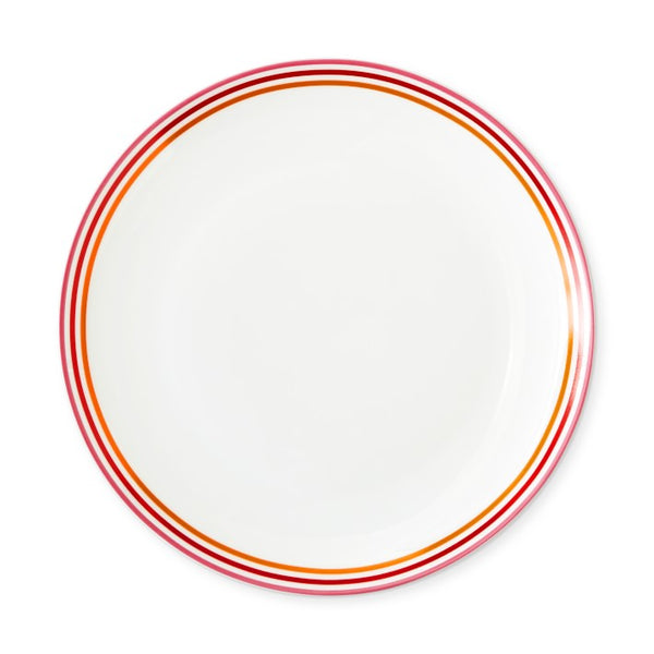 White porcelain plate and bordered in shades of red