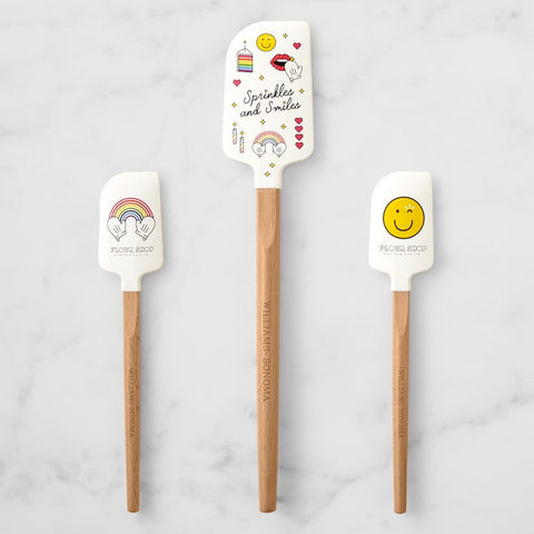 3 Flour Shop silicone head spatulas with wooden handles