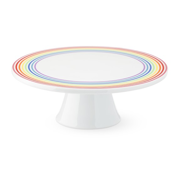 White FLOUR SHOP Cake Stand with rainbow border