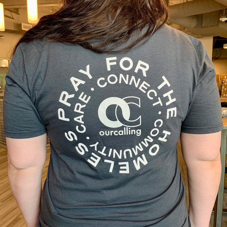 "Short Sleeve Tee - ""Care:Connect:Community"" in Charcoal"