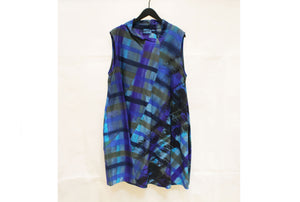JI-U Blue & Green Check Panelled Sleeveless Tunic