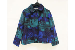 Fuga Fuga Blue & Grey Patterned Short Jacket