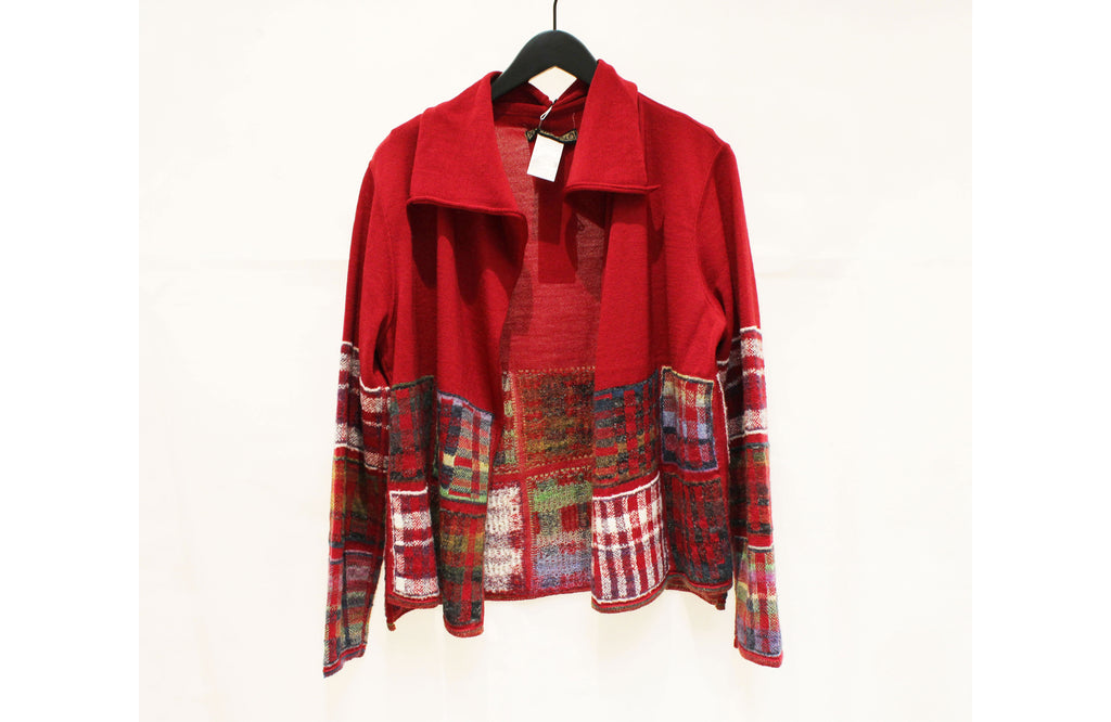 M&Kyoko Red and Multicolour Check Open Cardigan