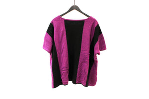 Moyuru Purple and Black Knitted Boxy Top