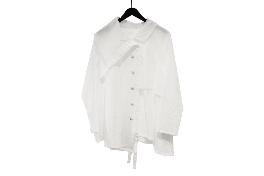 JI-U White Crinkled Drawstring Shirt