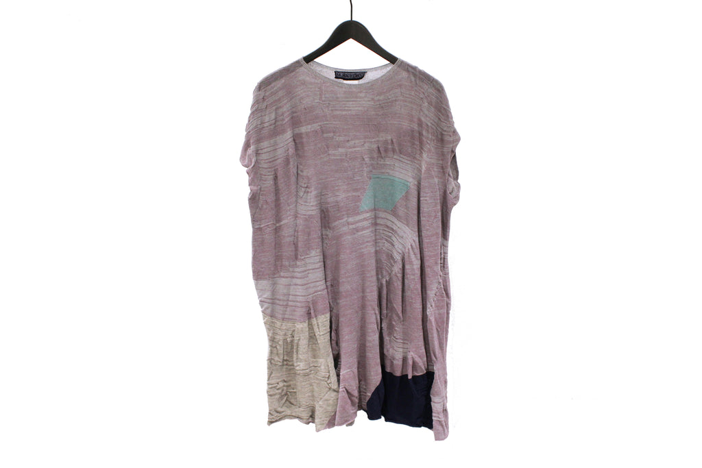 M&Kyoko Lavender Long Pleated Knit Top