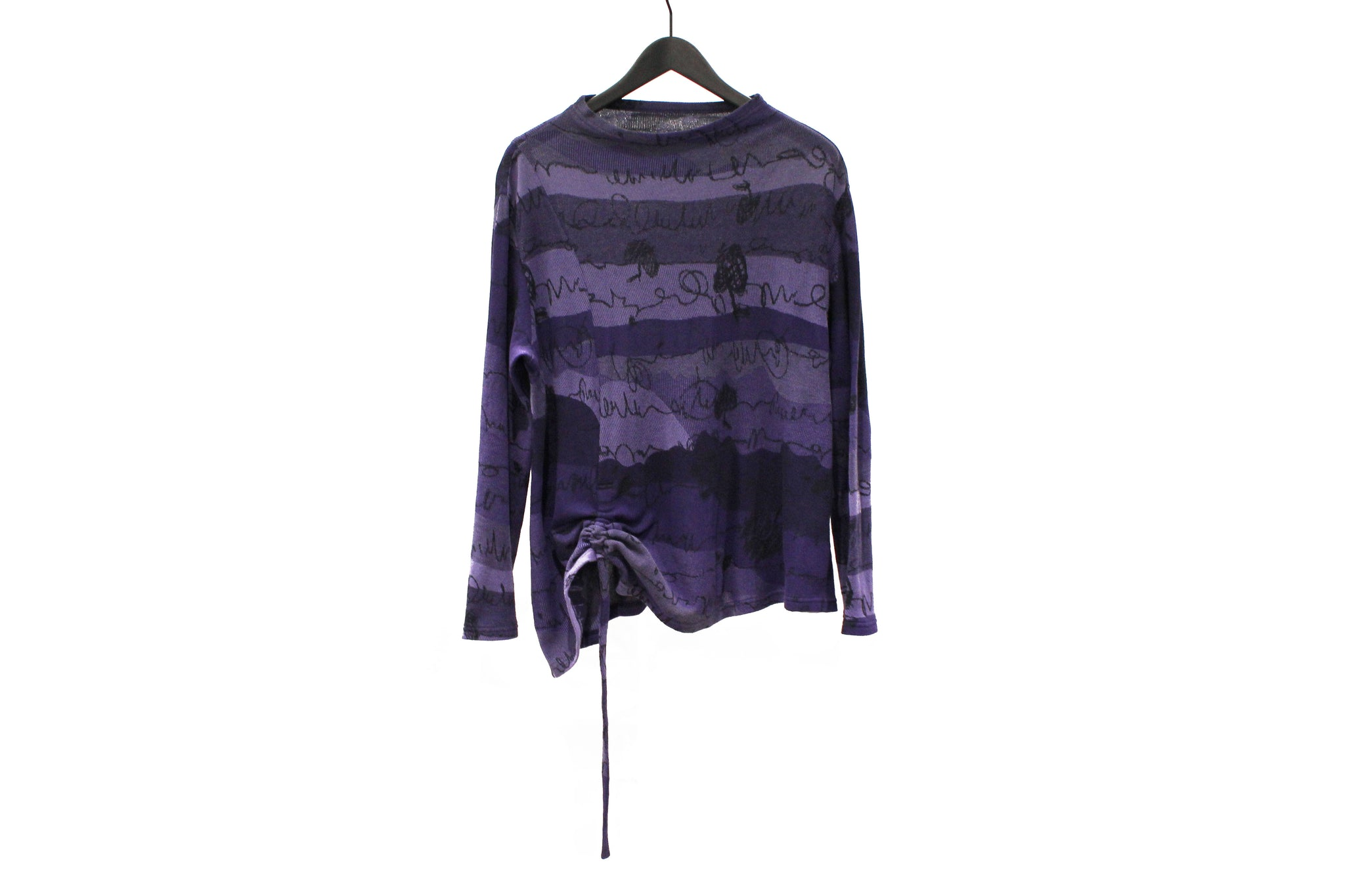 JI-U Purple Scribble Long Sleeve Top